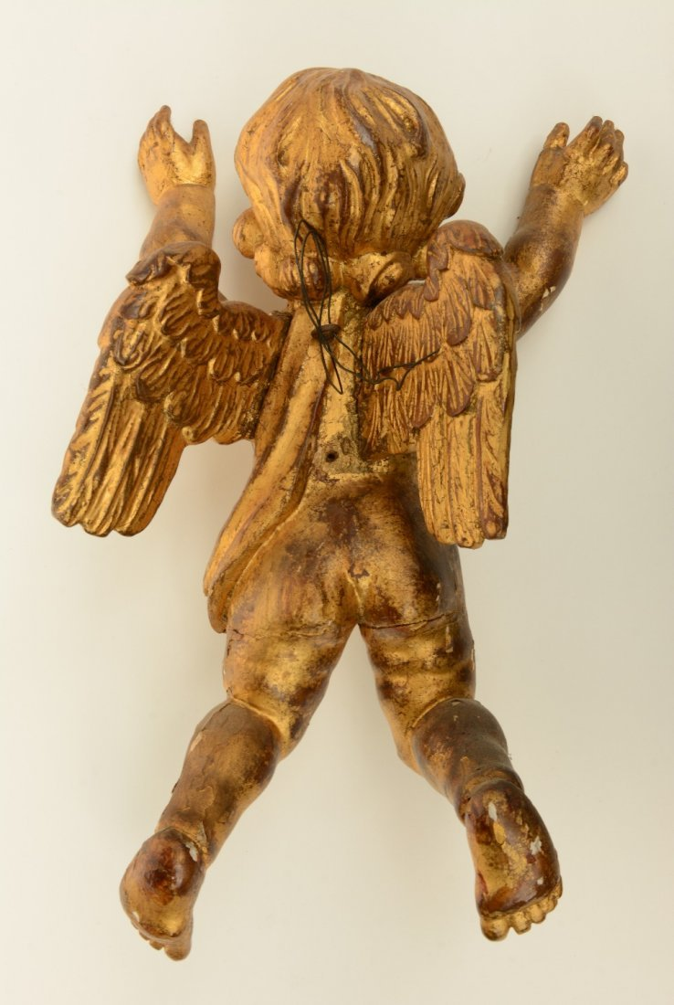 A pair of gilt limewood sculpted angels, Low Countries, - 5