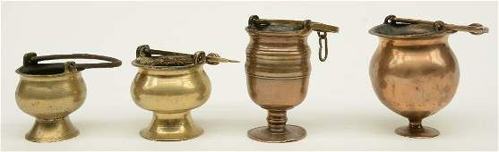 Four bronze Holy Water fonts 16thC and 17thC H 135