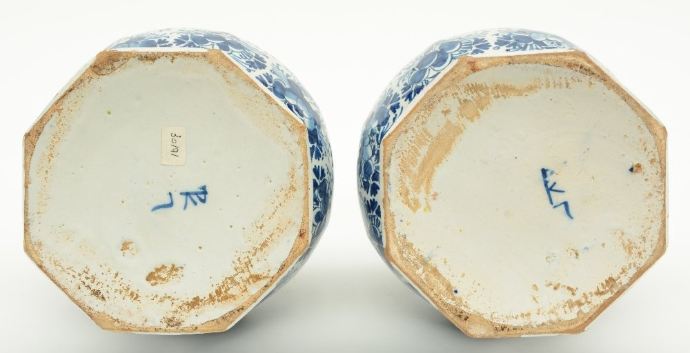 Two blue and white decorated Dutch Delftware octogonal - 6