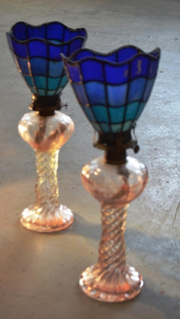Stained Glass Lamp Shades and Oil Lamp Bases