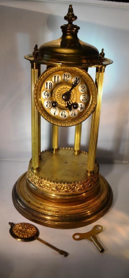Brass Mantle Clock With Pillars - 2
