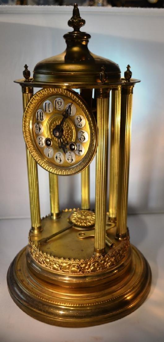 Brass Mantle Clock With Pillars - 3