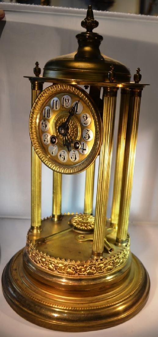 Brass Mantle Clock With Pillars - 4