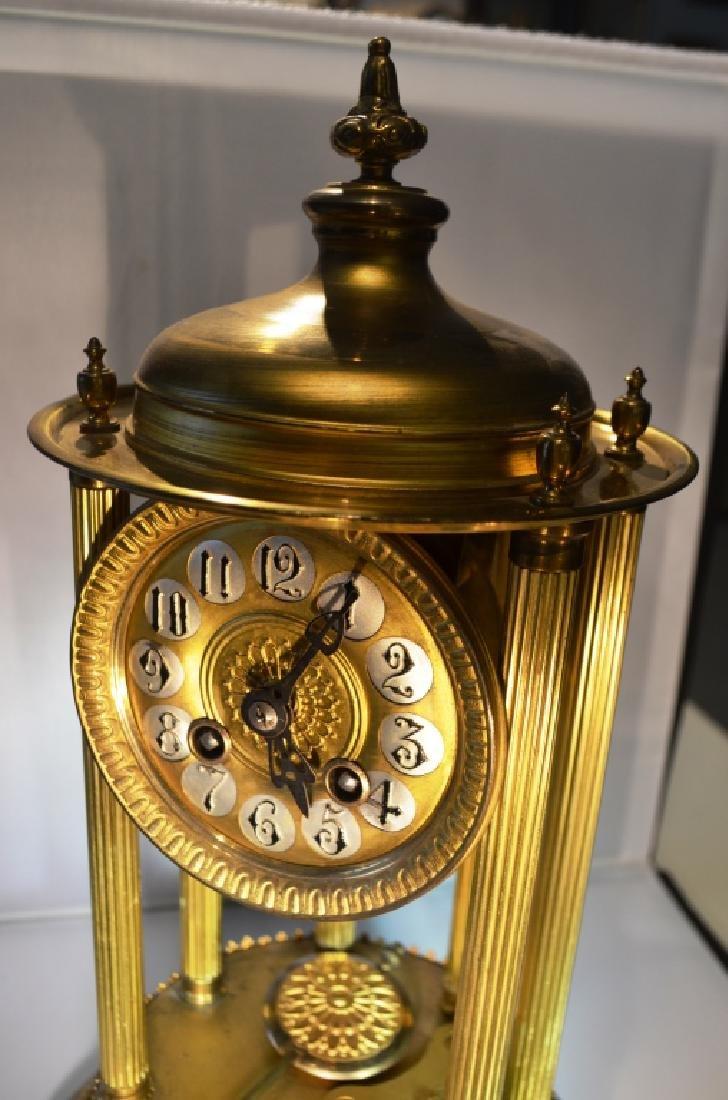 Brass Mantle Clock With Pillars - 5