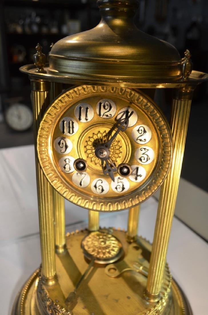 Brass Mantle Clock With Pillars - 6