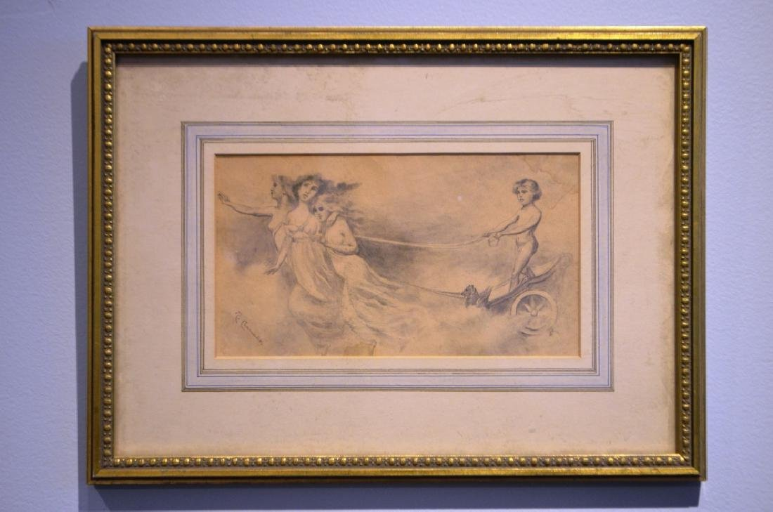 1800's Italian Drawing Chrub and 3 Graces