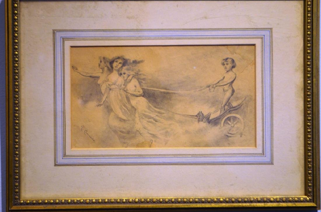 1800's Italian Drawing Chrub and 3 Graces - 2