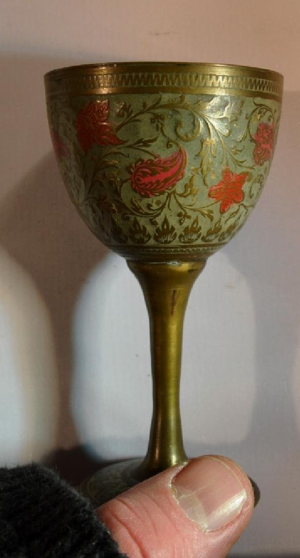 India Brass and Enamel Cups Set of Six - 2