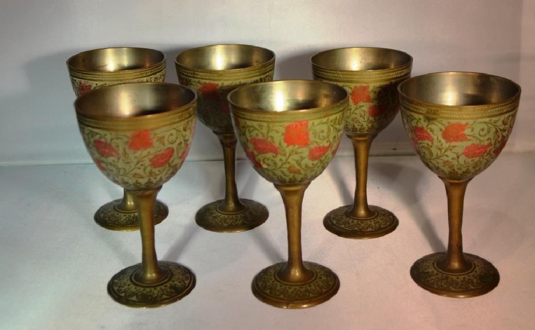 India Brass and Enamel Cups Set of Six - 3