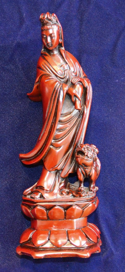 QUANYIN with Foo Dog. Teacher with Stork Sculpure. - 2