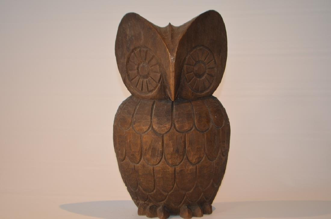 1960s Hand Carved Owl Signed