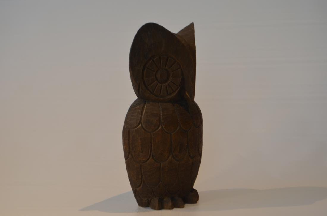 1960s Hand Carved Owl Signed - 2
