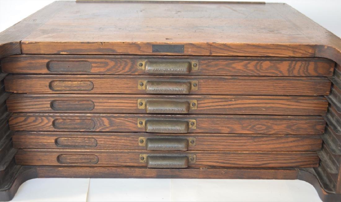 Early 1900s Type Case Oak Cabinet