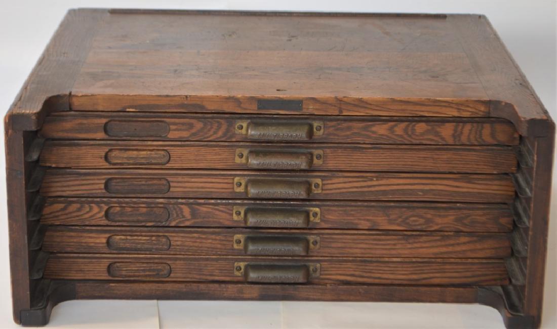 Early 1900s Type Case Oak Cabinet - 9