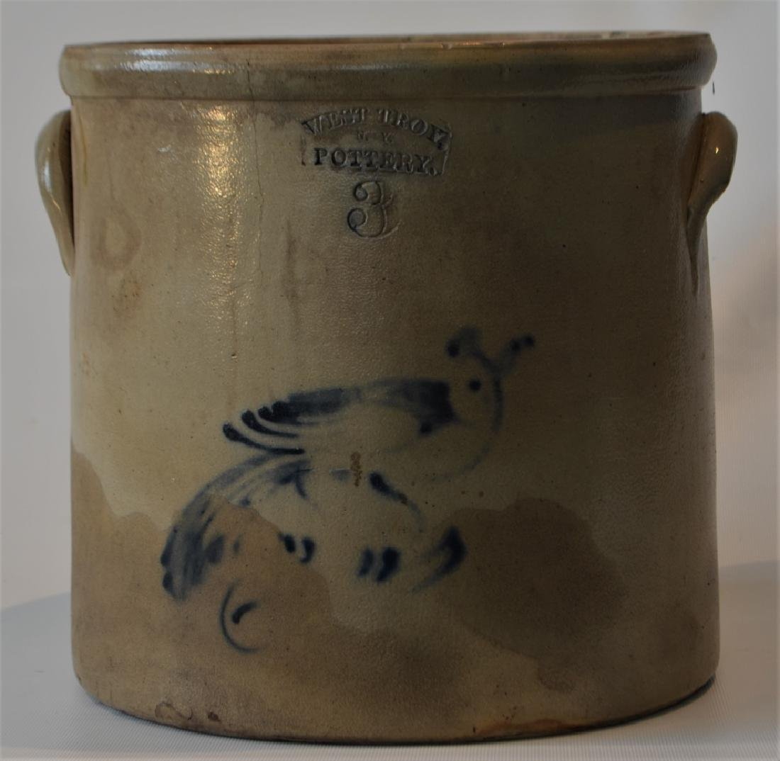 Antique Stoneware Crock West Troy NY 3 Gallon