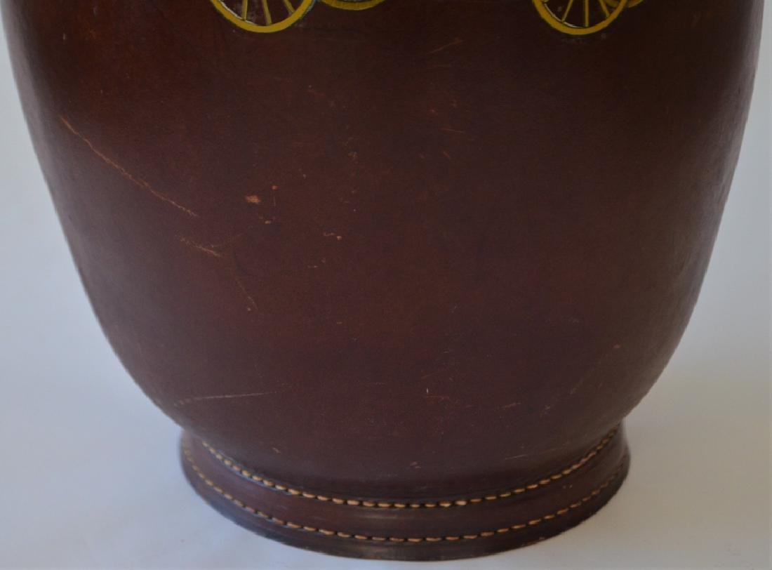 Vintage Cairns Brothers Leather Ice Bucket - 3