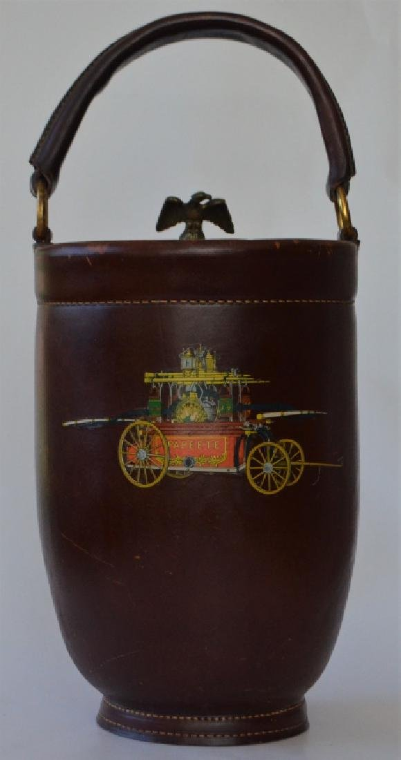 Vintage Cairns Brothers Leather Ice Bucket - 8