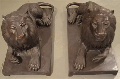 Pair Bronze Resting Lion Statues