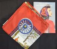 Hermes Scarf Horse and Carriage Design with Book