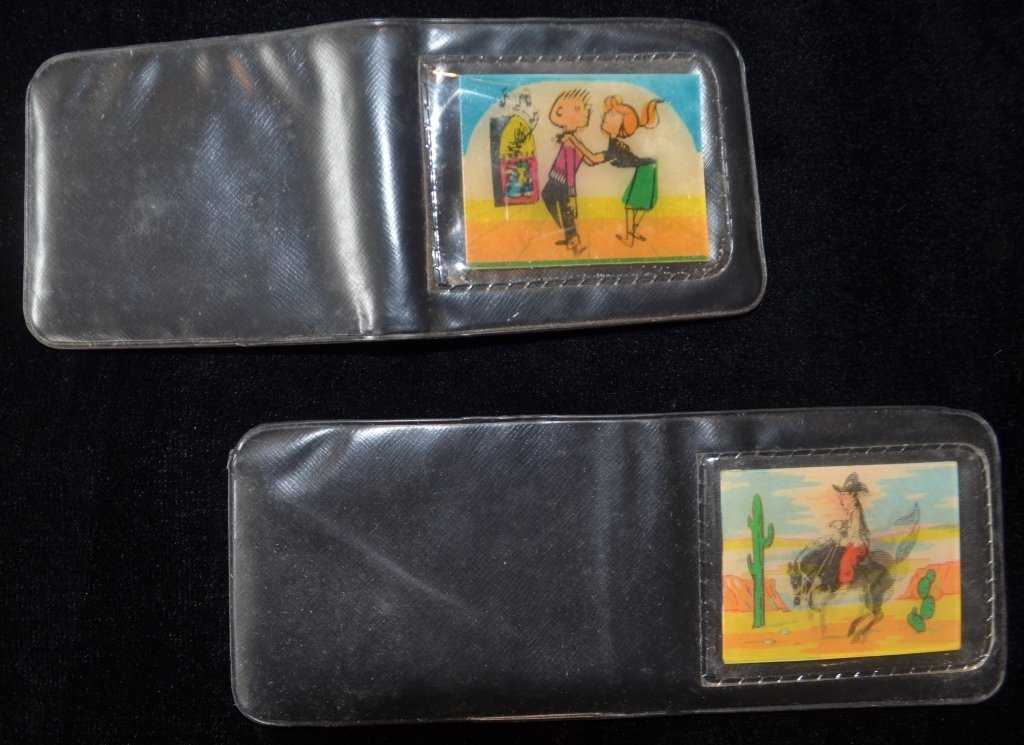 Pair of Vinyl Wallets with Linticular Cartoons