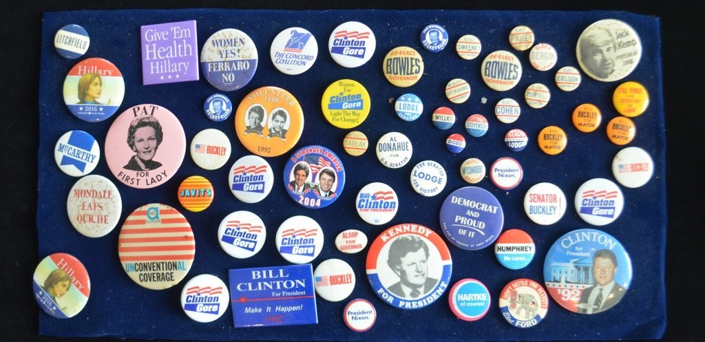 Large Lot of Political Buttons 1960s -Present
