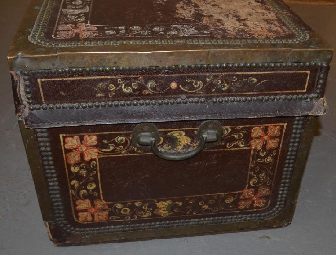 Antique Brass, Leather, and Wood Trunk - 2