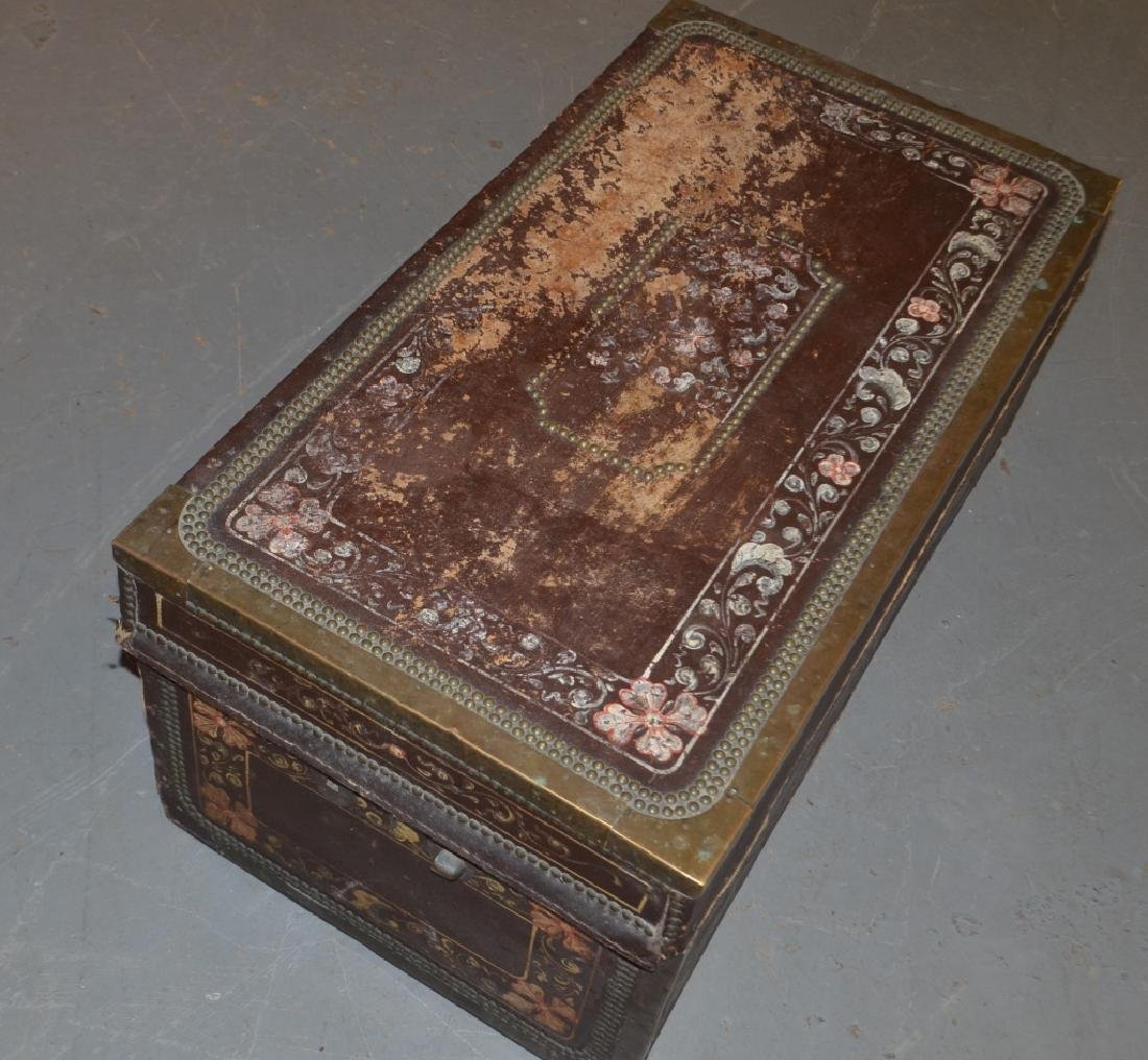 Antique Brass, Leather, and Wood Trunk - 3