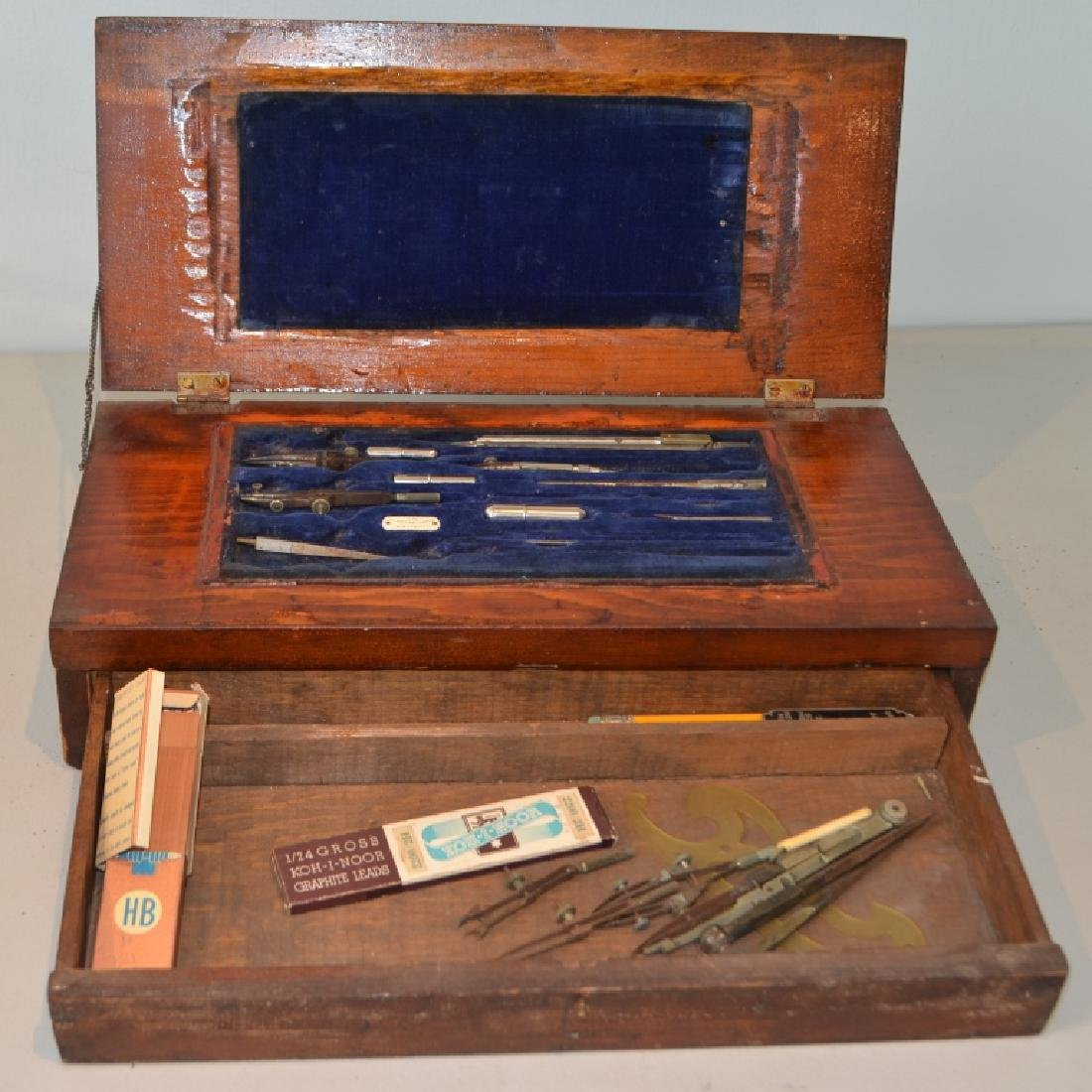 Antique Drafting Box With Tools