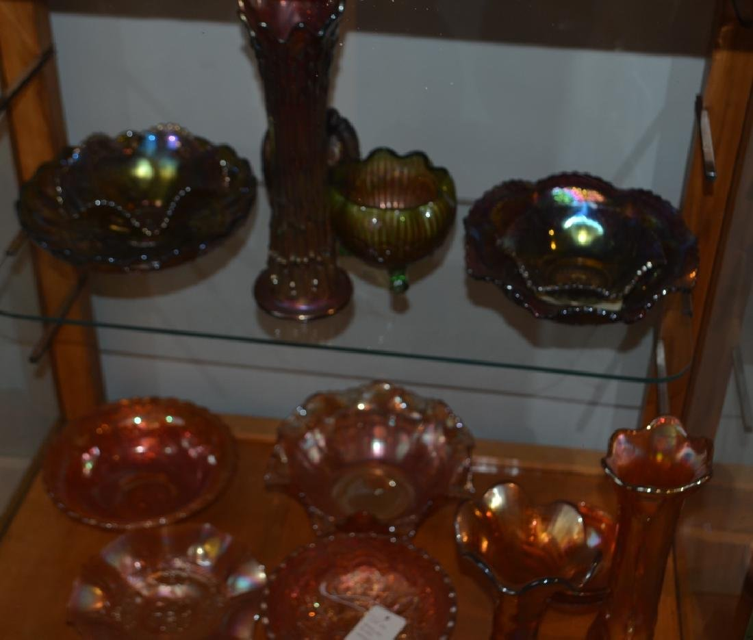 Lot of  Carnival Glass Bowls and Vases - 6