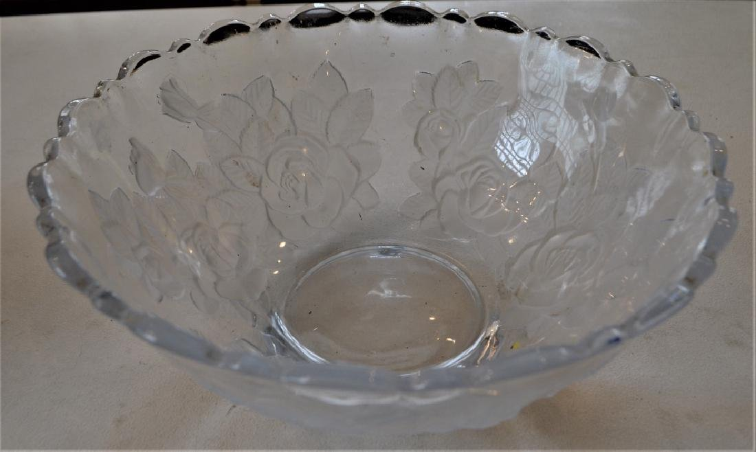 Etched Pressed Glass Bowl Floral