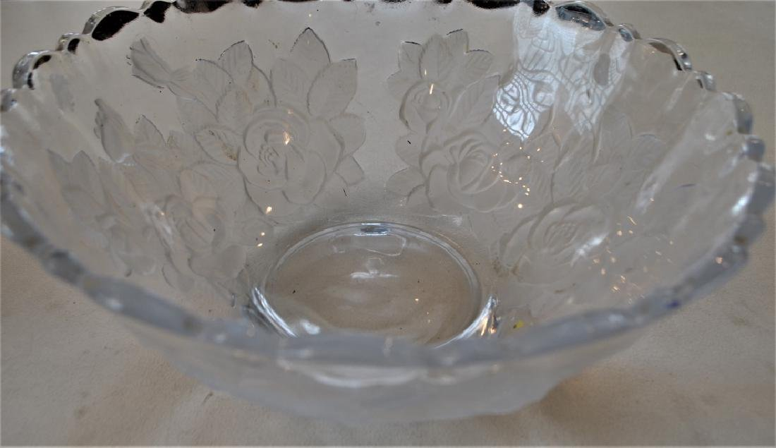 Etched Pressed Glass Bowl Floral - 3