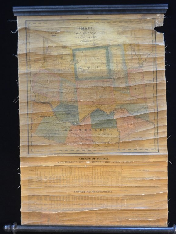 1839 Scroll Map of Ithica and Fulton Cty New York