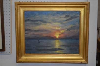 Marston Dean Hodgin Ocean Sunset Oil on Board