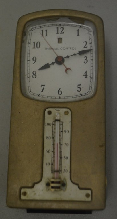 1934 GE Telechron Clock and Thermometer