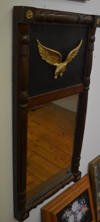 Empire Style Wall Mirror With Brass Eagle Top
