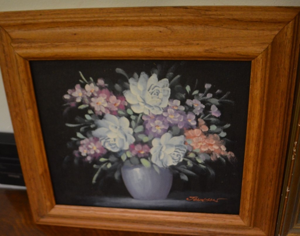 Floral Oil on Board Signed Johnson