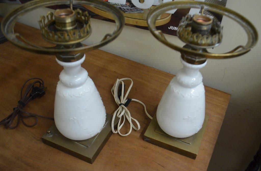 Pair of Vintage Milk Glass Lamps