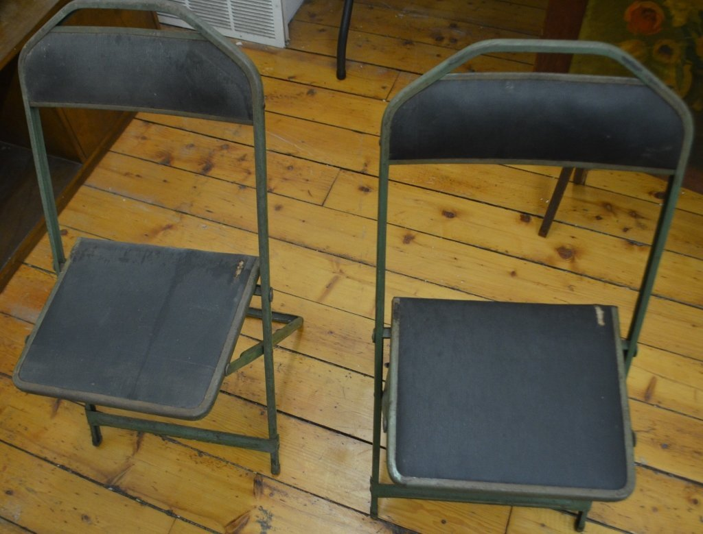 Pair of 1940s Steel Folding Chairs