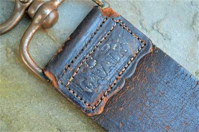 Antique Late 1800\'s US Cavalry Leather Barber Strap