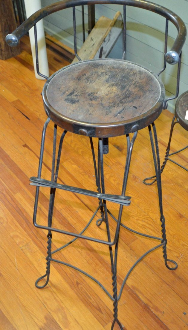 Antique Barbers Chair Cast Iron and Wood