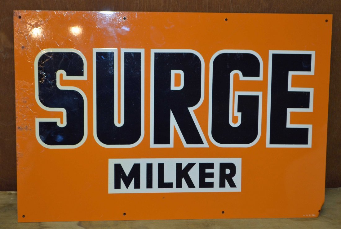 VINTAGE TIN SURGE MILKER DAIRY FARM EQUIPMENT SIGN