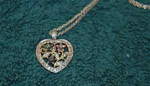 Ster. Silver Heart on Chain with Emerald Ruby Sapphire