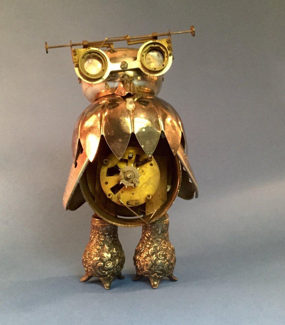Vintage Folk Art Owl Robot