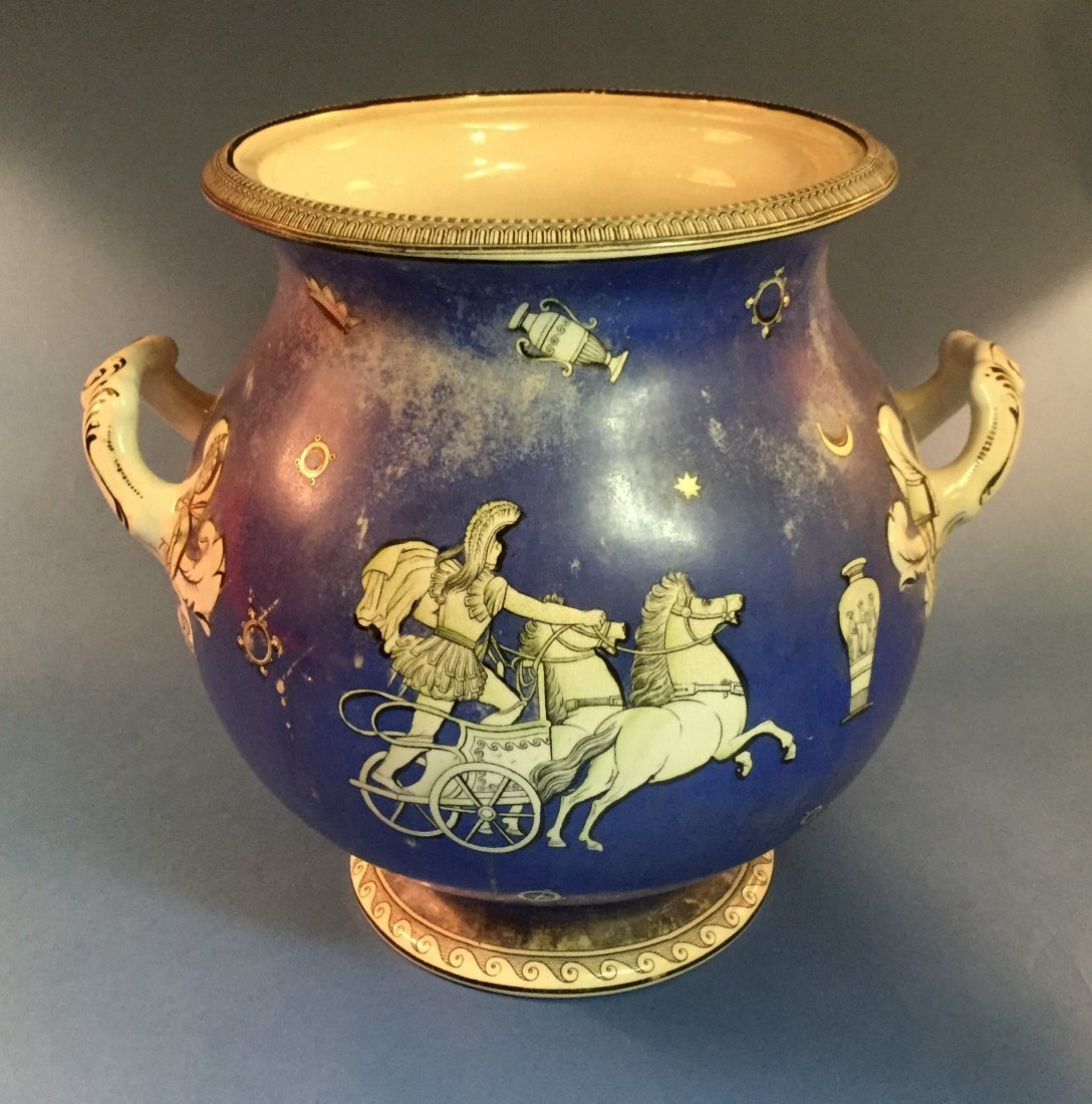 NeoClassical Ceramic Two-Handled Urn in Lovely Azure