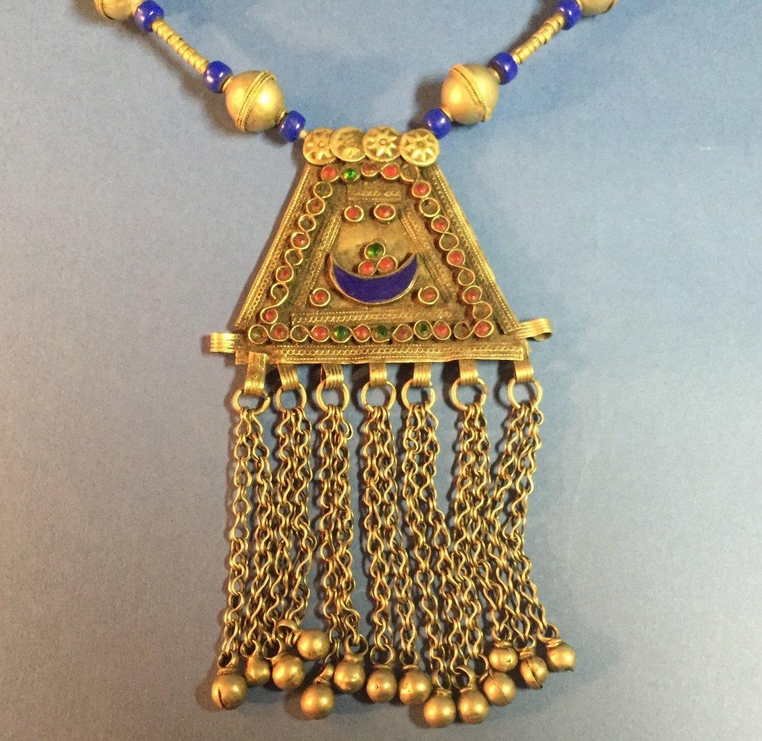 Large Vintage Turkish Silver Lapis Necklace