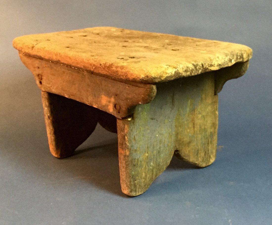 Antique Folk Art Wooden Stool