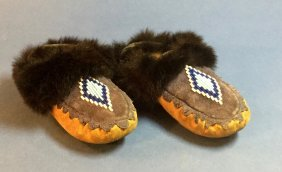 Vintage Black Fur-lined Beaded Child's Mocassins