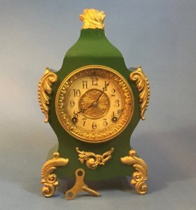 Vintage Ansonia Green Metal Case Clock