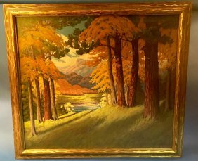 Vintage Forest Painting By N. E. Gainer