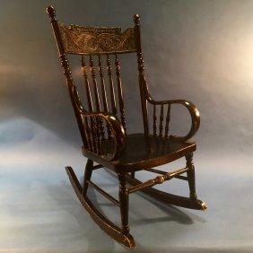 Vintage Child's Black Rocking Chair